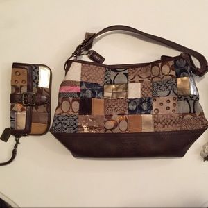 Handbags - Faux Coach Matching Handbag & Wallet Clutch